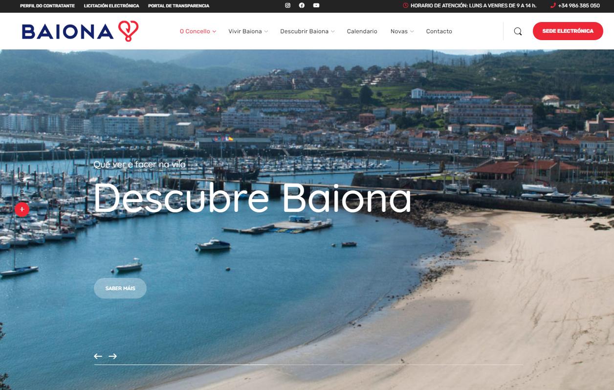 Nova paxina web Baiona captura Baiona