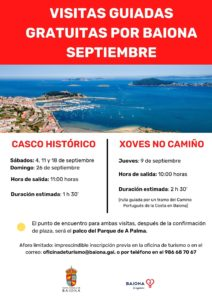 Cartel visitas guiadas setembro Baiona