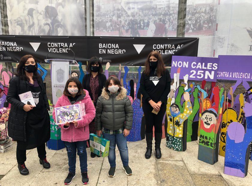 Neno e Nena representantes dos centros educativos que interviron no acto 840x620 Baiona